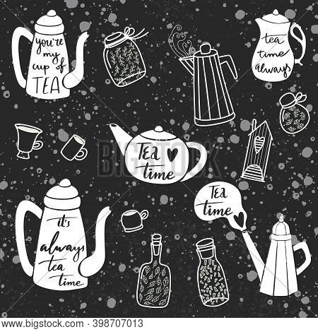 Vector Doodle Tea Illustration With Kettle, Cups And Mugs, Bottle With Leaf. Cute Design With Kitche