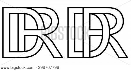 Logo Rd Dr Icon Sign Two Interlaced Letters R D, Vector Logo Rd Dr First Capital Letters Pattern Alp