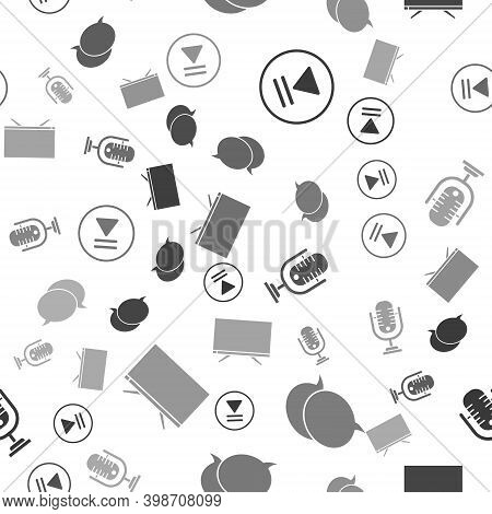 Set Rewind, Speech Bubble Chat, Microphone And Smart Tv On Seamless Pattern. Vector