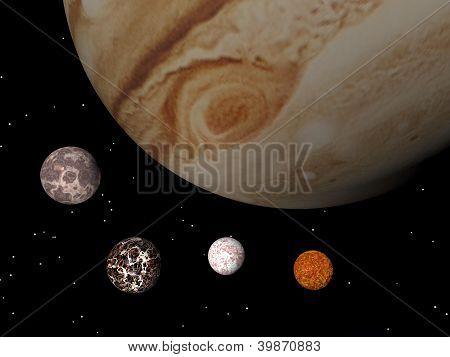 Jupiter And Its Satellites - 3D Render