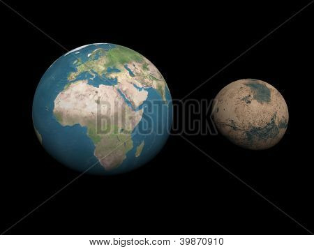 Earth And Mars Planets Size Comparison - 3D Render