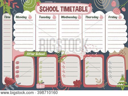 School Timetable For Week In English. Planning List. Printable Diary For Student On Abstract Backgro