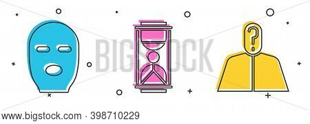 Set Thief Mask, Old Hourglass With Sand And Anonymous With Question Mark Icon. Vector