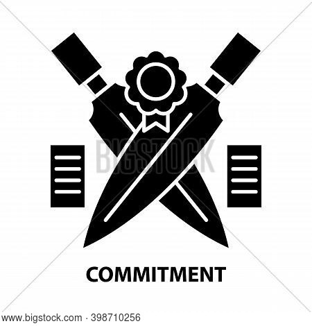 Commitment Icon, Black Vector Sign With Editable Strokes, Concept Illustration