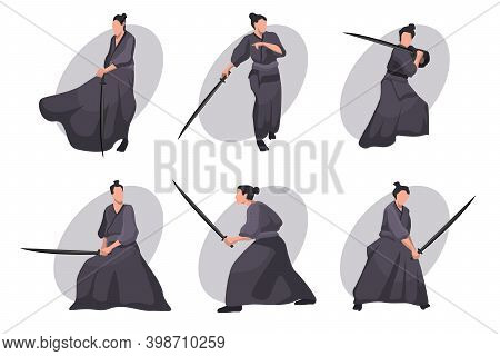 Samurai Cartoon Character Set. Japanese Knight, Warrior In Black Kimono With Katana Sword. Vector Il