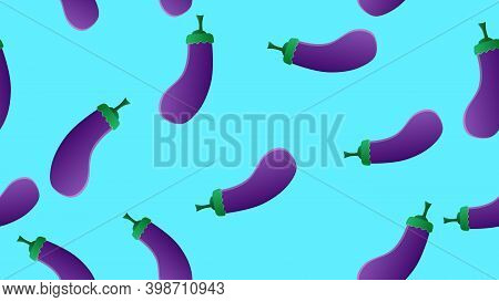 Eggplant On A Blue Background, Vector Illustration, Pattern. Purple Eggplant. Vegetable For Salad An