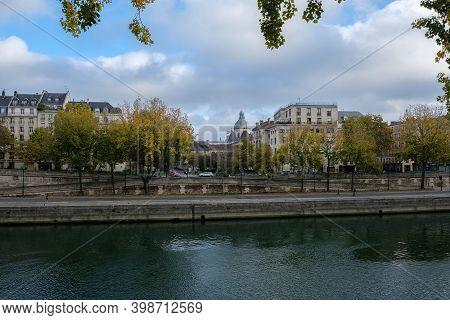 City Embankment, Seine River, Autumn Paris, France.