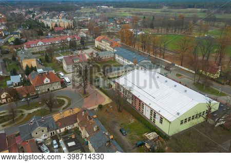 Panorama Of The City Of Iłowa In Western Poland. View From The Drone.\niłowa, A Small, Provincial To