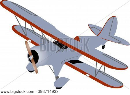 Single Plane Biplane In Gray And Red Colors With A Wooden Propeller On A White Background.