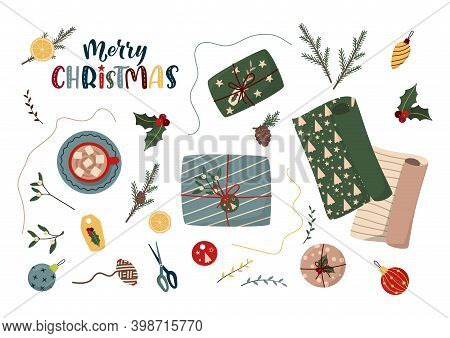 Christmas Vector Flat Lay With Fir Pine Branches, Gift Boxes, Cup Of Coffee, Wrapping Paper, Decor E