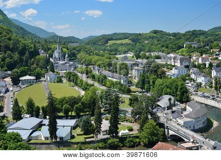 Summer View Of Lourdes With The Rosary Basilica