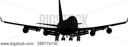 Silhouette Of A Large Passenger Plane. A Silhouette On A White Background.