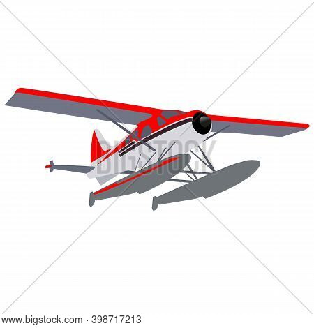 Small Private Seaplane On Pontoons In Gray-red Coloring.