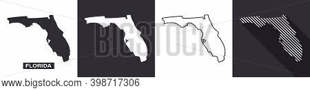 State Of Florida. Map Of Florida. United States Of America Florida. State Maps. Vector Illustration