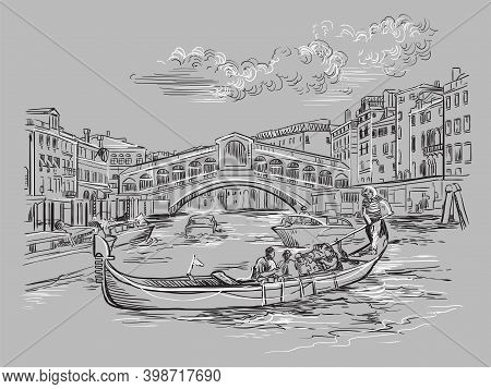 Venice Hand Drawing Vector Illustration Rialto Bridge Gray