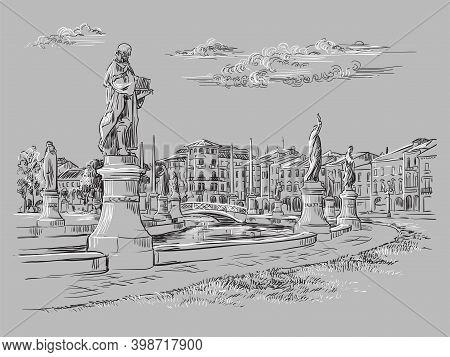Venice Drawing Illustration Prato Della Valle Gray