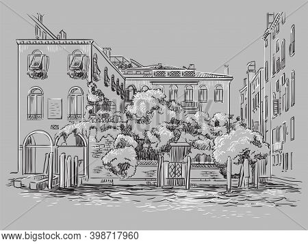 Venice Drawing Illustration Cityscape On Canal Gray