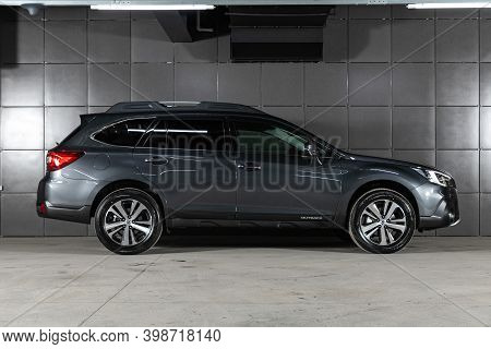 Novosibirsk, Russia - December 07, 2020:  New Gray Subaru Outback ,side  View.  Photography Of A Mod