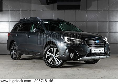 Novosibirsk, Russia - December 07, 2020:  New Gray Subaru Outback ,front  View.  Photography Of A Mo