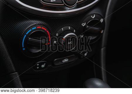 Novosibirsk, Russia - December 07, 2020: Hyundai Solaris , New Car Interior Details. Speedometer, Ta