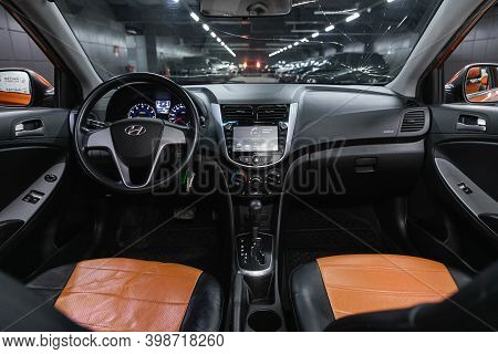 Novosibirsk, Russia - December 07, 2020: Hyundai Solaris , Steering Wheel, Shift Lever, Multimedia
