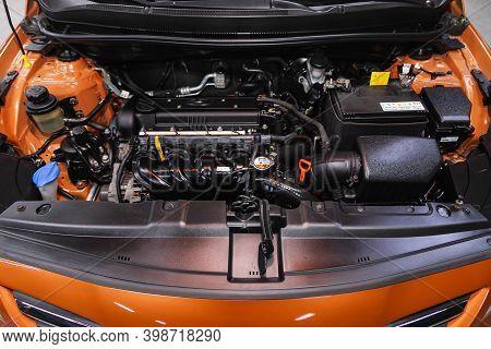 Novosibirsk, Russia - December 07, 2020: Hyundai Solaris , Under The Hood Of Car. Powerful Engine Cl