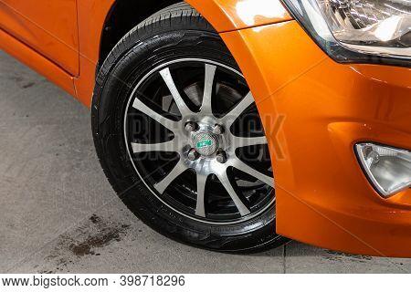 Novosibirsk, Russia - December 07, 2020: Hyundai Solaris , Close Up Of Car Wheel On A Car