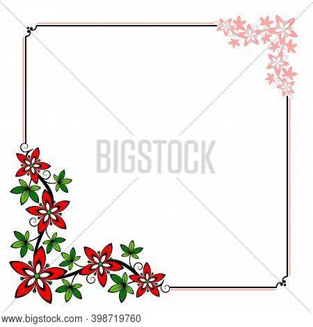 Flower Corner Border. Decorative Floral Frame. Corner Ornament Of Stylized Flowers. Greeting Card. V