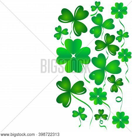 Clover Green Floral Background, Vector Clover Isolated On White Background