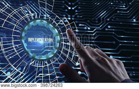 Internet, Business, Technology And Network Concept. Virtual Screen Of The Future And Sees The Inscri