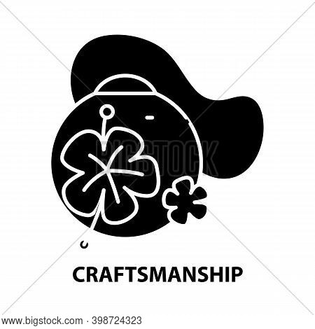 Craftsmanship Icon, Black Vector Sign With Editable Strokes, Concept Illustration