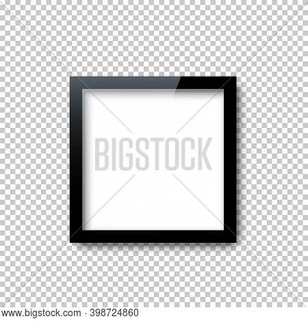 Black Square Frame Template With Empty White Copy Space Inside Isolated On Transparent Background. D
