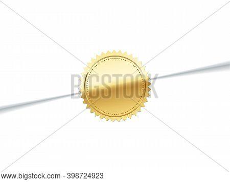 Glued Golden Sticker On Envelope. Gold Stamp Logo Vector Illustration. Quality Certificate On Vip Le