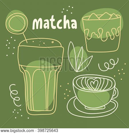 Matcha Hand Drawn Outline Vector Set. Iced Cold Matcha Latte, Soy And Almond Milk. Healthy Green Sup
