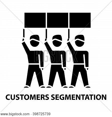 Customers Segmentation Icon, Black Vector Sign With Editable Strokes, Concept Illustration