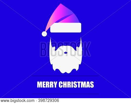 Merry Christmas. Santa Claus Hat And White Beard. Festive Design For Greeting Card, Poster And Banne