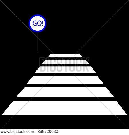 Pedestrian Crossing, Road Sign For Pedestrian, Vector Image