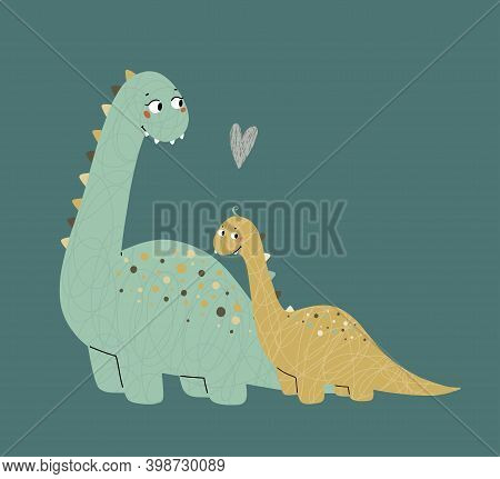 Cute Dinosaurs, Mom And Baby. Prehistoric Era. Childrens Illustration.
