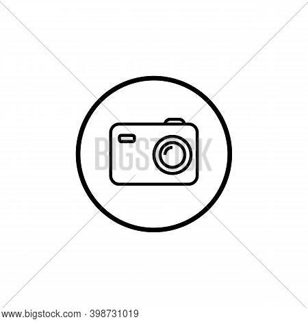 Photo Camera Outline Round Icon, Flat Design