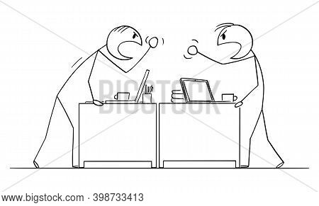 Cartoon Stick Figure Illustration Of Two Angry Fighting Or Arguing Office Workers, Men Or Businessme