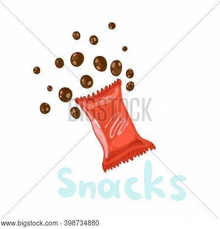 Snack Products Or Fast Food Snacks Isolated On White Background. Flat Kawaii Illustration In Vector.