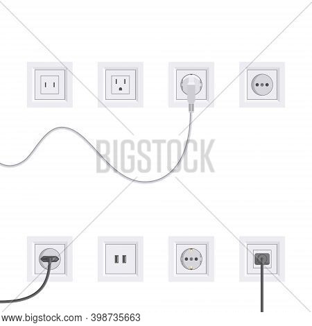 Electric Sockets Set In Flat Style, Vector