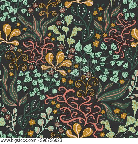 Seamless Pattern In A Hand-drawn Style. An Intricate Plant With Leaves And Berries Of Green, Orange