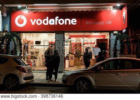 Thessaloniki, Greece - December 8 2020: Vodafone Telecommunications Store Facade With Logo. Illumina