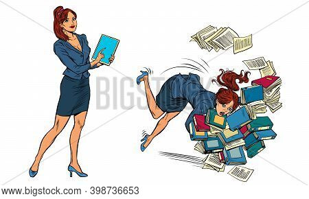 Set Two Women. Successful And Unsuccessful. Pop Art Retro Illustration Kitsch Vintage 50s 60s Style