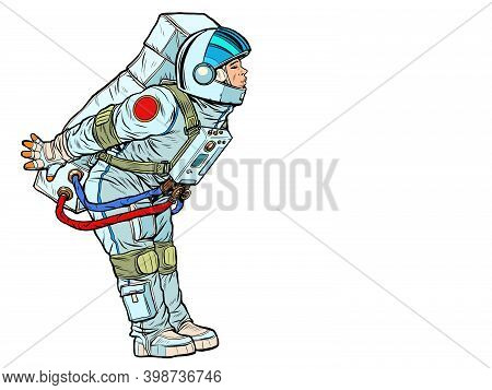 The Spacesuited Astronaut Prepared For A Kiss. Pop Art Retro Illustration Kitsch Vintage 50s 60s Sty