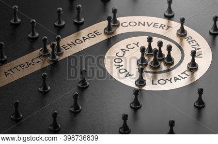 3d Illustration Of Pawn Over Golden Spiral Printed On Black Background. Customer Lifecycle Managemen