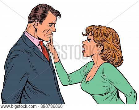 Couple Quarreling, Woman And Man. Husband And Wife Scandal. Pop Art Retro Illustration Vintage Kitsc