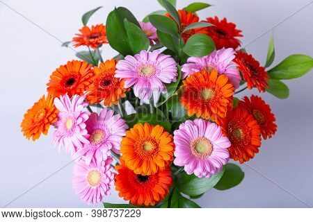 Bouquet Of Gerberas. Pink, Orange And Red Gerbera On A White Background. Close-up.
