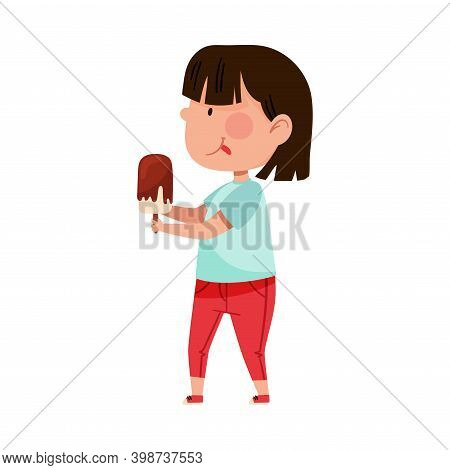 Cute Girl Character Holding Eskimo Ice Cream Vector Illustration